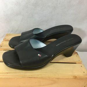 Tommy Hilfiger Slide Sandals Black Leather Sz 9